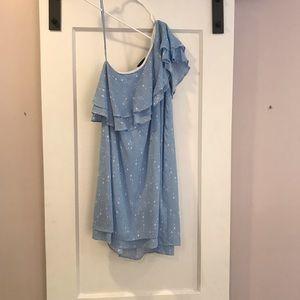Light blue one shoulder ruffle dress